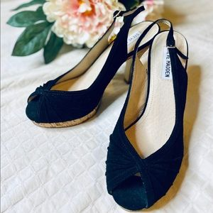 🌸Steve Madden🖤NWT Black Cork heels